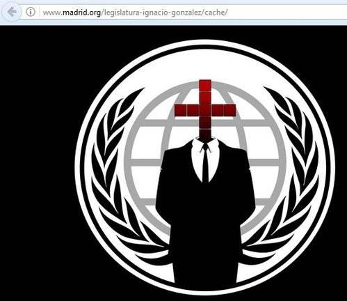 Anonymus 'hackea' la web de la Comunidad de Madrid en protesta por las cargas policiales en Cataluña